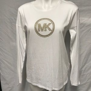 MICHAEL KORS TOP W/GOLD STUDDED LOGO ON FRONT. A11
